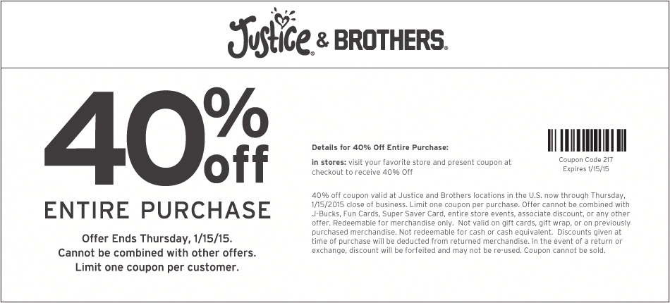 Justice online coupon codes